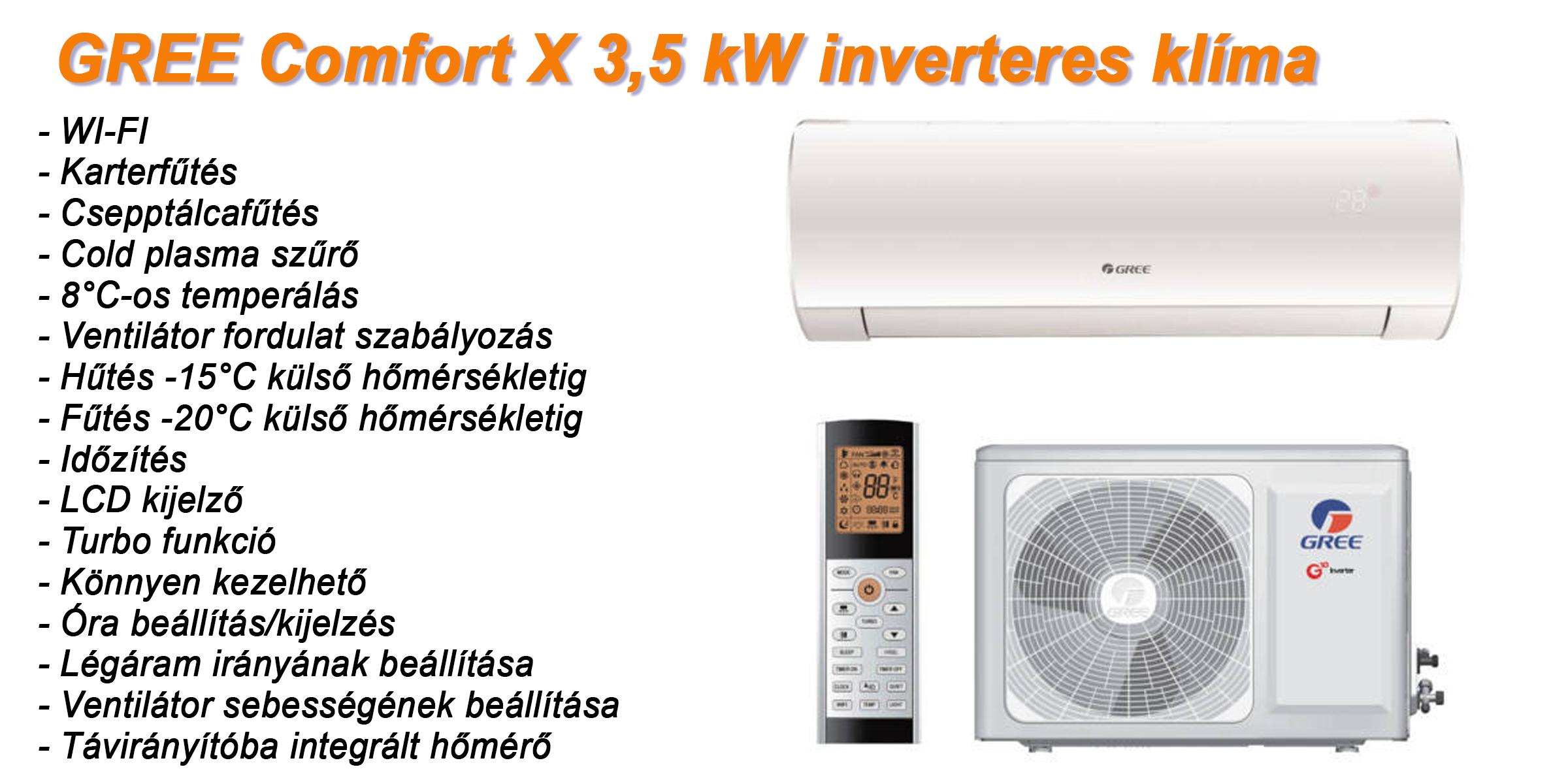 Gree Comfort X inverteres klíma, klímaszerelés Miskolc