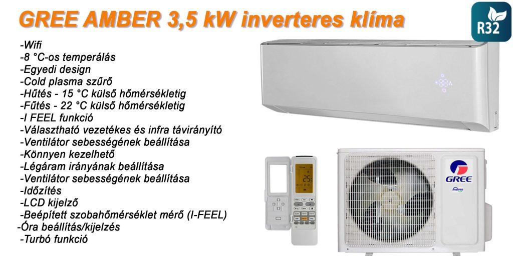 Gree Amber 3,5 kW inverteres klíma