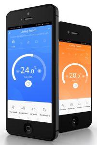 Mobilos applikáció a klímaberendezés távoli vezérléséhez.